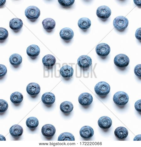Beautiful trendy seamless pattern blueberries. Blueberry pattern isolated on white background. Blueberry border design. Top view or flat lay