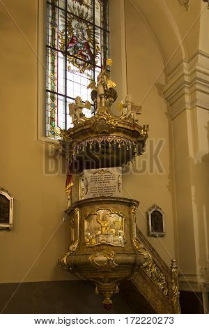 Mount St. Anna Poland February 4 2017: Inside the Basilica of St. Anna in the international sanctuary of St. Anna in Poland Pulpit