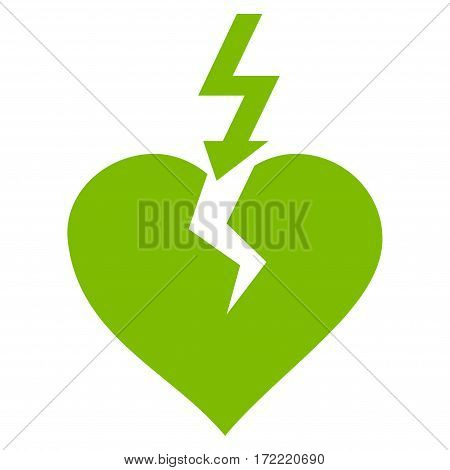 Break Heart flat icon. Vector light green symbol. Pictograph is isolated on a white background. Trendy flat style illustration for web site design logo ads apps user interface.