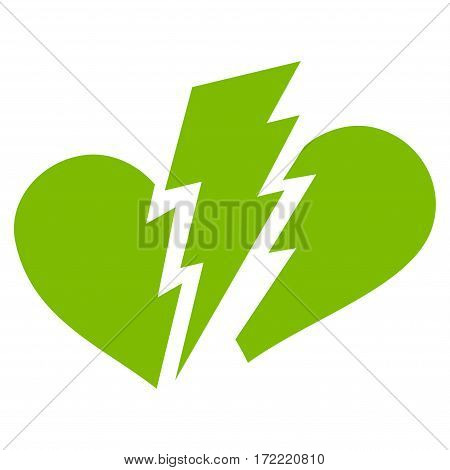 Broken Heart flat icon. Vector light green symbol. Pictogram is isolated on a white background. Trendy flat style illustration for web site design logo ads apps user interface.
