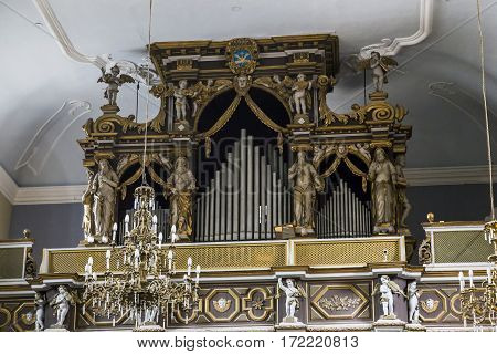 DUBROVNIK, CROATIA - SEPTEMBER 8, 2016: It is fragment organ in the church of the Franciscan Order of Friars Minor.