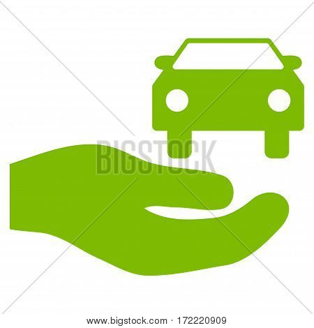 Car Gift Hand flat icon. Vector light green symbol. Pictogram is isolated on a white background. Trendy flat style illustration for web site design logo ads apps user interface.