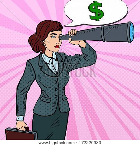 Pop Art Confident Business Woman Looking in Spyglass Searching Money. Vector illustration