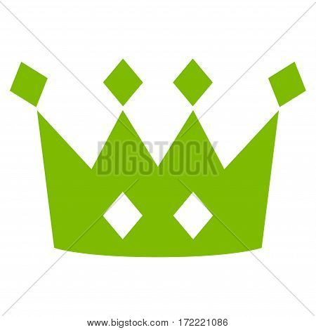 Crown flat icon. Vector light green symbol. Pictograph is isolated on a white background. Trendy flat style illustration for web site design logo ads apps user interface.