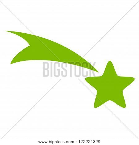 Falling Star flat icon. Vector light green symbol. Pictogram is isolated on a white background. Trendy flat style illustration for web site design logo ads apps user interface.