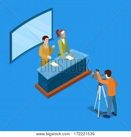 Isometric Mass Media Concept with Live Newsroom. Vector illustration
