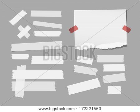 Ripped white notebook, copybook, note paper, sticky, adhesive masking tape stuck on gray background.