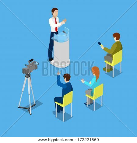 Isometric Mass Media Concept with Reporters and Conference Room. Vector illustration