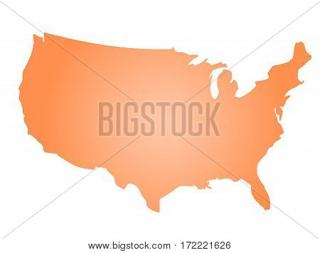 Orange radial gradient silhouette map of United States of America, aka USA. Vector illustration.