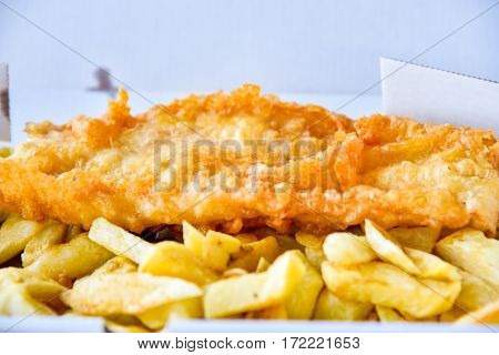 Fish and chips traditional british food in white box