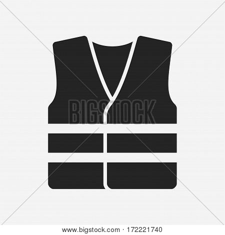 High visibility vest. Vector icon isolated on grey background.