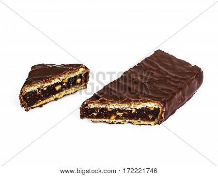 Chocolate bar with jam, honey and nuts. Studio Photo