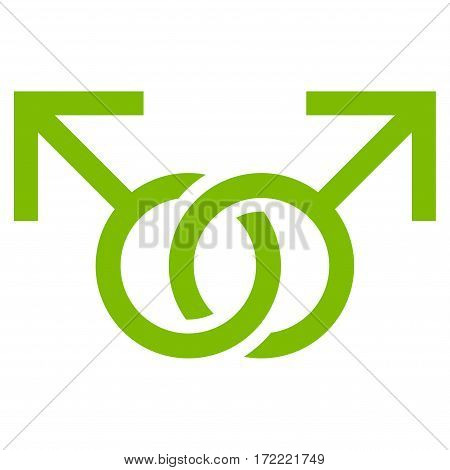Gay Love Symbol flat icon. Vector light green symbol. Pictograph is isolated on a white background. Trendy flat style illustration for web site design logo ads apps user interface.
