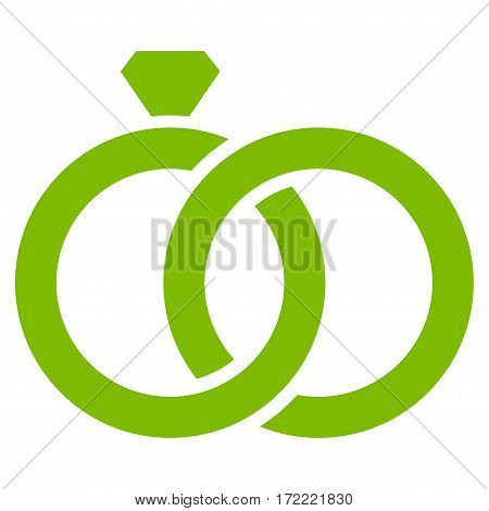 Gem Rings flat icon. Vector light green symbol. Pictograph is isolated on a white background. Trendy flat style illustration for web site design logo ads apps user interface.