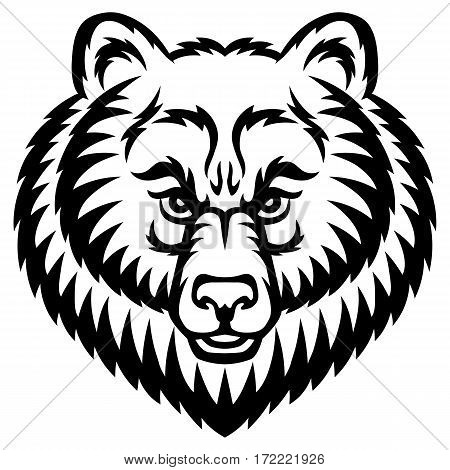 A Bear head logo. This is vector illustration ideal for a mascot and tattoo or T-shirt graphic.