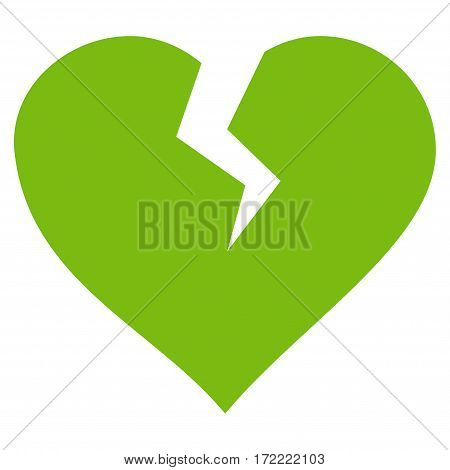 Heart Break flat icon. Vector light green symbol. Pictograph is isolated on a white background. Trendy flat style illustration for web site design logo ads apps user interface.
