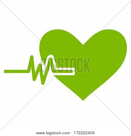 Heart Pulse flat icon. Vector light green symbol. Pictograph is isolated on a white background. Trendy flat style illustration for web site design logo ads apps user interface.