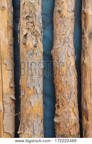 old worn logs on a blue background