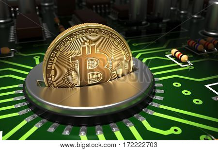 Putting Gold Bitcoin Into Coin Slot On Motherboard. 3D Illustration.