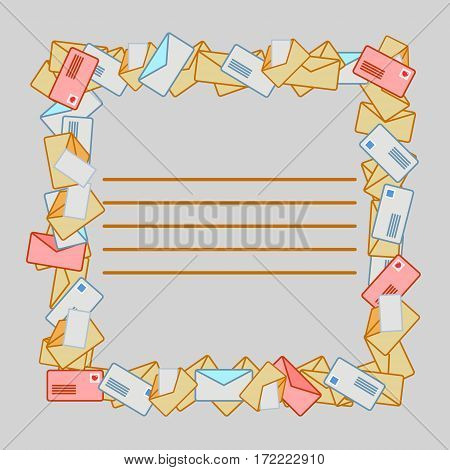 Square frame from post envelopes. Vector illustration in flat style. EPS 10.