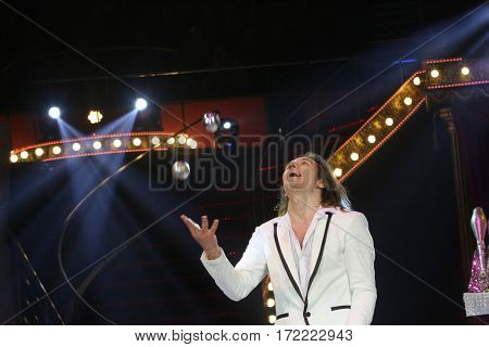 Bucharest Romania February 2017: VIKTOR KRACHINOV from Russia performs at the International Circus Festival hold in Bucharest at Globus Circus.