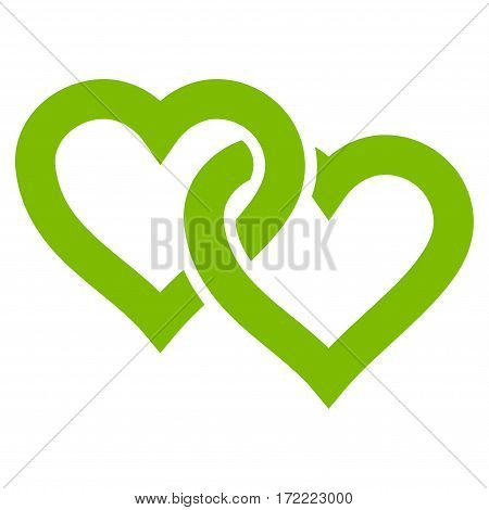 Linked Hearts flat icon. Vector light green symbol. Pictogram is isolated on a white background. Trendy flat style illustration for web site design logo ads apps user interface.