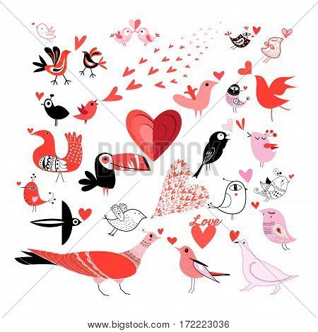 Beautiful Set of graphics much in love with birds on a white background