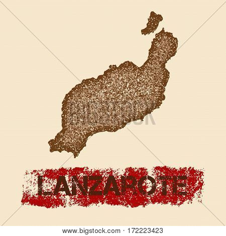 Lanzarote Distressed Map. Grunge Patriotic Poster With Textured Island Ink Stamp And Roller Paint Ma