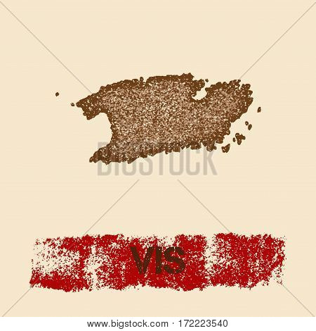 Vis Distressed Map. Grunge Patriotic Poster With Textured Island Ink Stamp And Roller Paint Mark, Ve