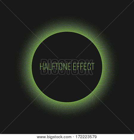Green halftone ring with white circle and text label in the middle. Modern abstract vector design element with backlight effect.