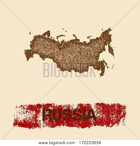 Russia Distressed Map. Grunge Patriotic Poster With Textured Country Ink Stamp And Roller Paint Mark