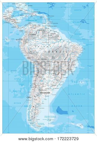 South America Detailed Physical Map with global relief lakes and rivers. Highly detailed vector map.