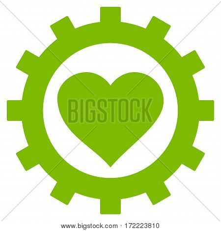 Love Heart Options Gear flat icon. Vector light green symbol. Pictogram is isolated on a white background. Trendy flat style illustration for web site design logo ads apps user interface.
