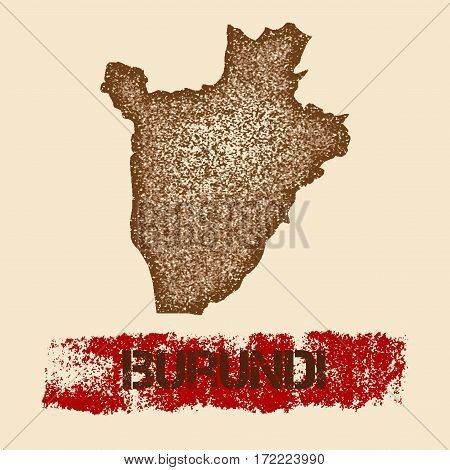 Burundi Distressed Map. Grunge Patriotic Poster With Textured Country Ink Stamp And Roller Paint Mar