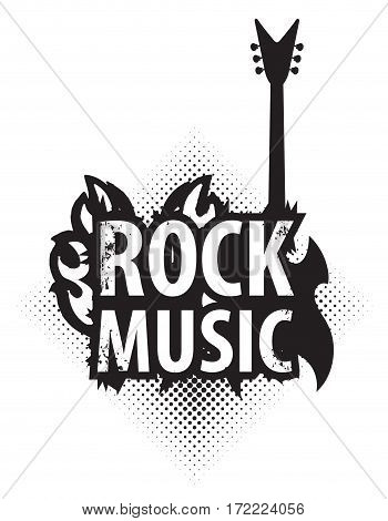 banner for rock music with electric guitar with fire