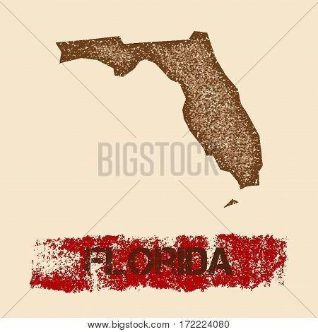 Florida Distressed Map. Grunge Patriotic Poster With Textured State Ink Stamp And Roller Paint Mark,