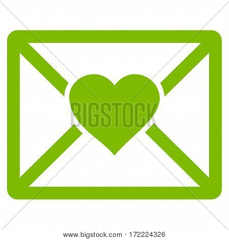 Love Letter flat icon. Vector light green symbol. Pictogram is isolated on a white background. Trendy flat style illustration for web site design logo ads apps user interface.