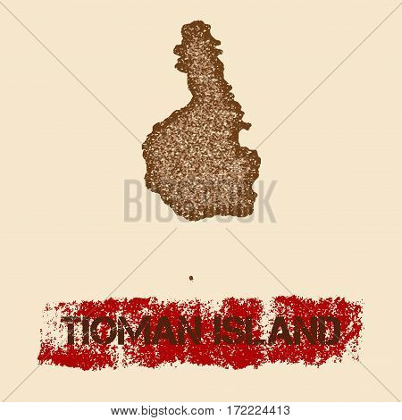 Tioman Island Distressed Map. Grunge Patriotic Poster With Textured Island Ink Stamp And Roller Pain