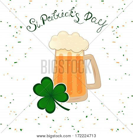 Happy St. Patrick's Day lettering with green clover shamrock beer mug. Traditional Irish hollyday template design.