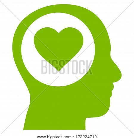 Love Thinking Head flat icon. Vector light green symbol. Pictograph is isolated on a white background. Trendy flat style illustration for web site design logo ads apps user interface.