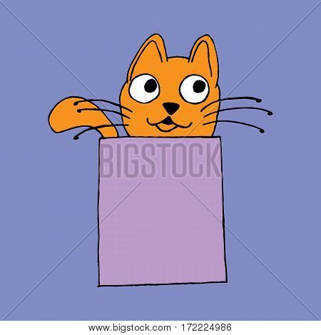 Simple red cat sitting in a box vector