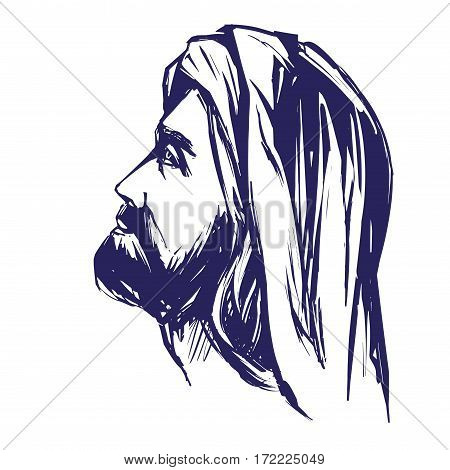 Jesus Christ, the Son of God , symbol of Christianity hand drawn vector llustration sketch