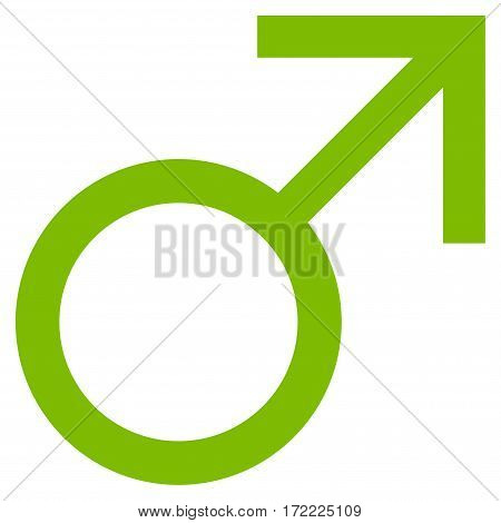 Mars Male Symbol flat icon. Vector light green symbol. Pictograph is isolated on a white background. Trendy flat style illustration for web site design logo ads apps user interface.