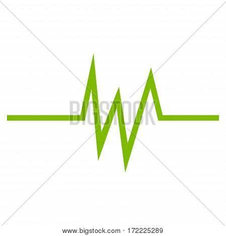 Pulse Signal flat icon. Vector light green symbol. Pictogram is isolated on a white background. Trendy flat style illustration for web site design logo ads apps user interface.