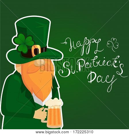 Happy St. Patrick's Day lettering with Red Beared Leprechaun Character and clover shamrock. Traditional Irish hollyday template design.