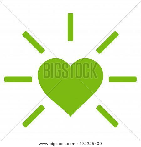 Shiny Love Heart flat icon. Vector light green symbol. Pictogram is isolated on a white background. Trendy flat style illustration for web site design logo ads apps user interface.