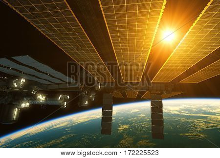 International Space Station And Sun Above The Earth. 3D Illustration.