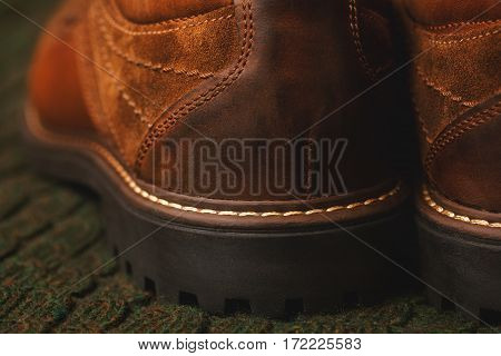 leather shoes close up, rear view. High sole