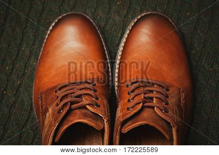 Beautiful leather men's shoes. Fashion Spring-Autumn. Fashionable casual wear