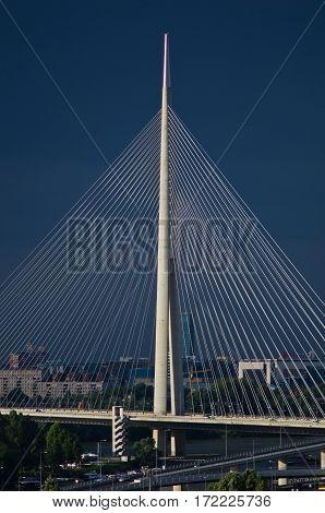 Cable bridge against dark blue sky in Belgrade, Serbia